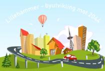 Tegning med teksten Lillehammer - byutvikling mot 2044