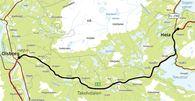 Kart fra Olsbog til Heia som viser hvor det skal lages plan for utbedring og standardheving