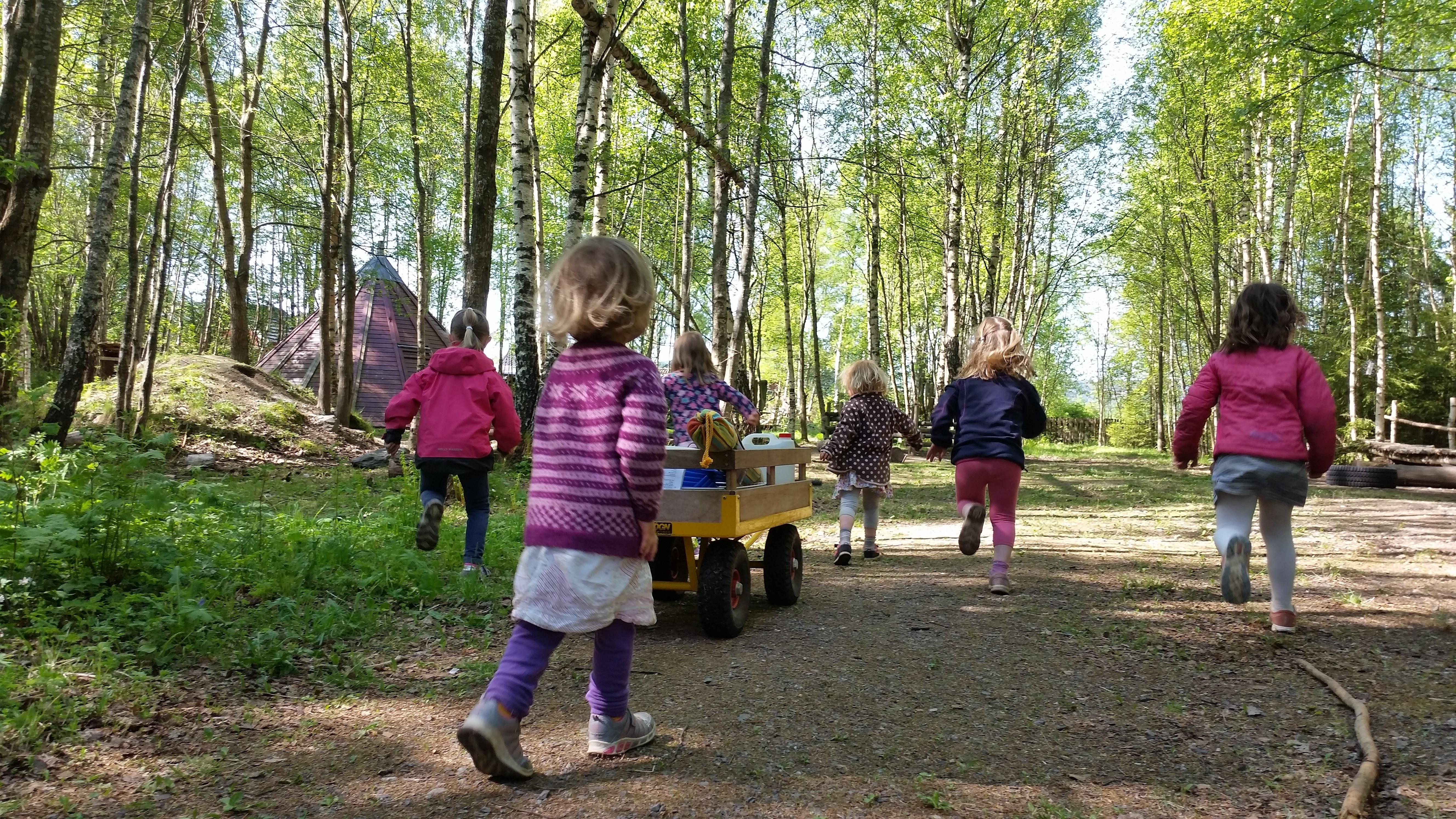 Barn som løper mot skogen