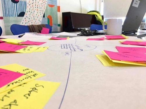 Et møtebord med mange gule og rosa post-it-lapper.