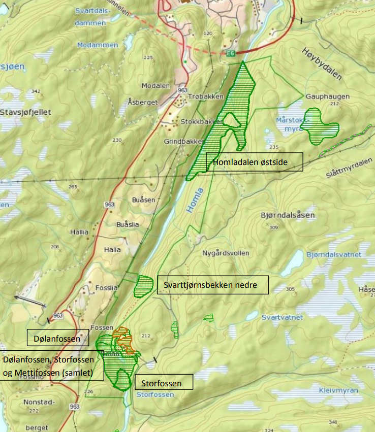 Kart over Homla naturreservat