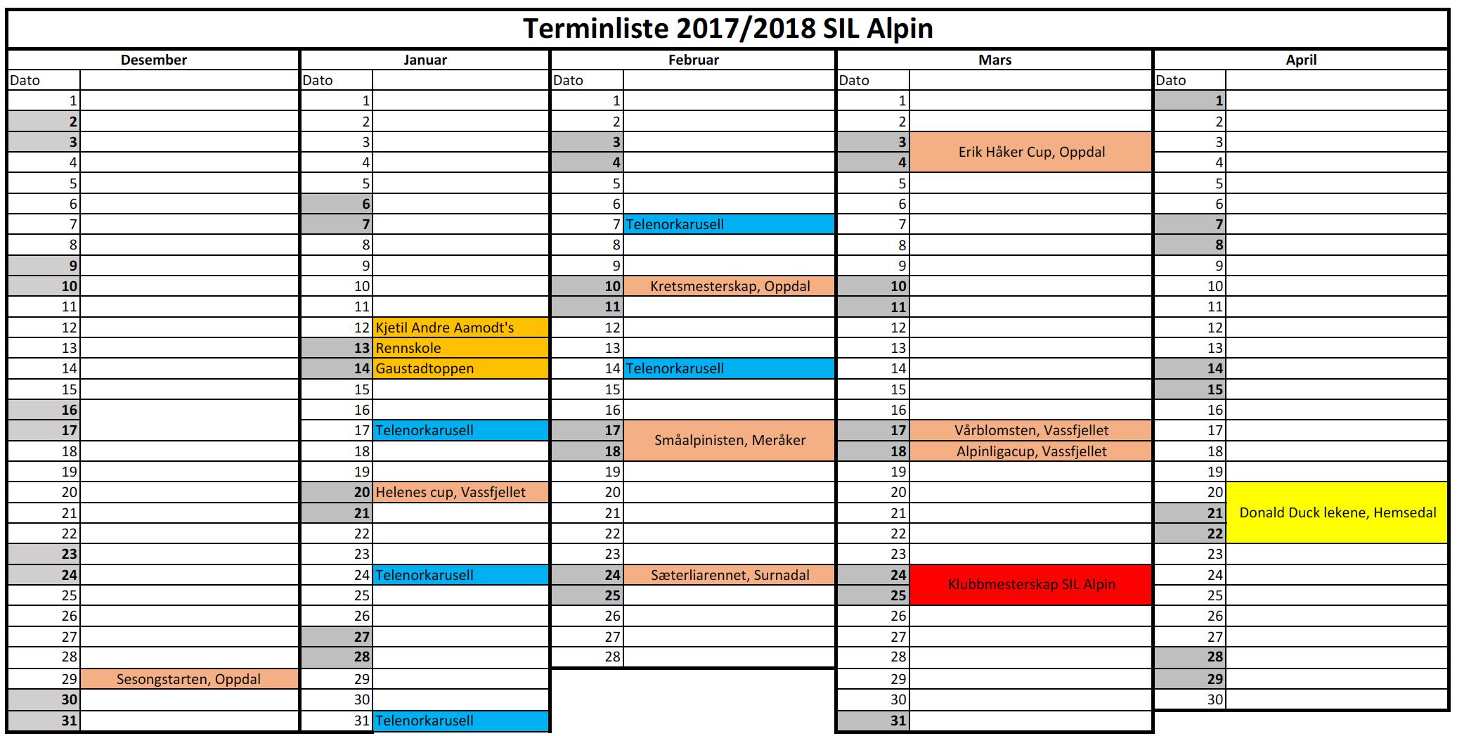 Terminliste Alpin SIL 17/18
