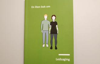 """Forsiden til boken """"En liten bok om ledsaging"""". Tegnet illustrasjon av en mann som ledsager en kvinne."""