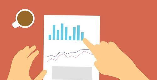 Tegnet illustrasjon. Hender peker på en rapport med ulike grafer. Oppe til venstre en kaffekopp. Rød bakgrunn.