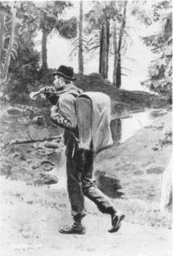 Postmann med posthorn på veg over fjellet