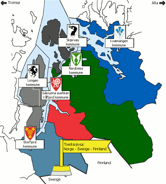 Kart over Nord-Troms kommuner