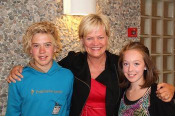 Kristin Halvorsen sammen med Margrete og Jørgen