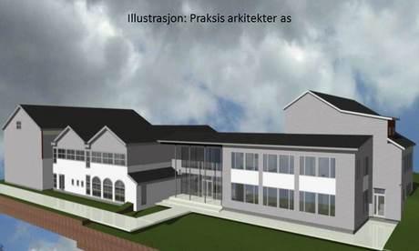 Illustrasjonsbilde av ny skole i Mosvik. Bildet viser ny fasade mot øst.