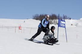 Funksjonshemmet står slalom