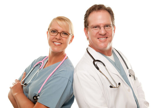 Friendly Male and Female Doctors on White