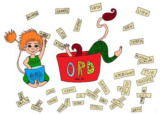 Teikning av ordtrolla Stein og Symre. Illustratør Sarah Haensel