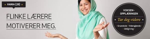 Annonse for vaksenopplæringa. Bilete av Hania som har deltatt, og meiner at flinke lærarar motiverer.