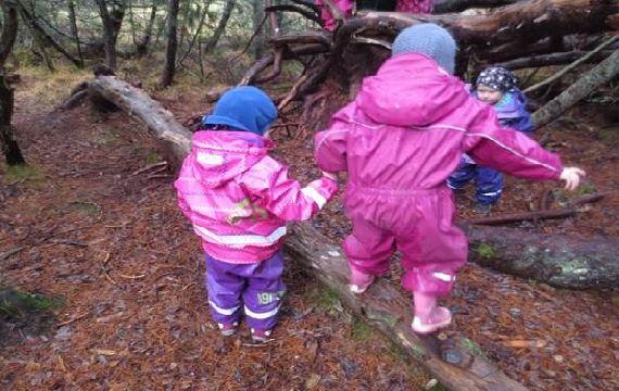Barn som balanserer på ein trestamme