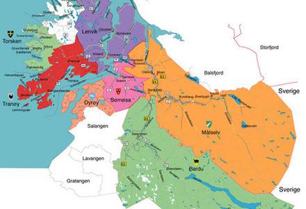 Kart Midt-Troms