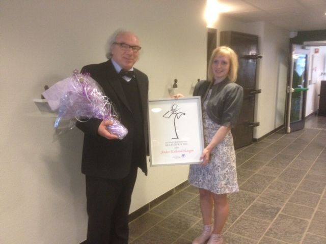 Kulturprisvinner Anders Skaugen og ordfører Ida Stuberg.