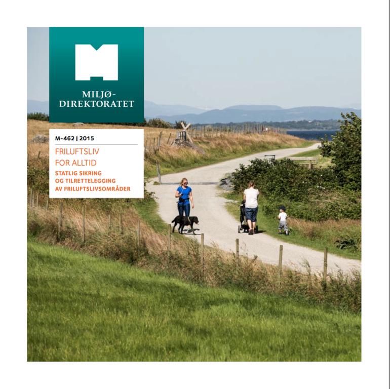 Forside: brosjyren Friluftsliv for alltid, utgitt av Miljødirektoratet