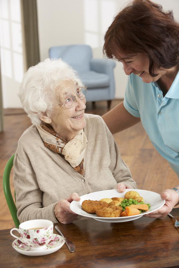 Illustrasjon helsetjeneste.Pleier og eldre kvinne.