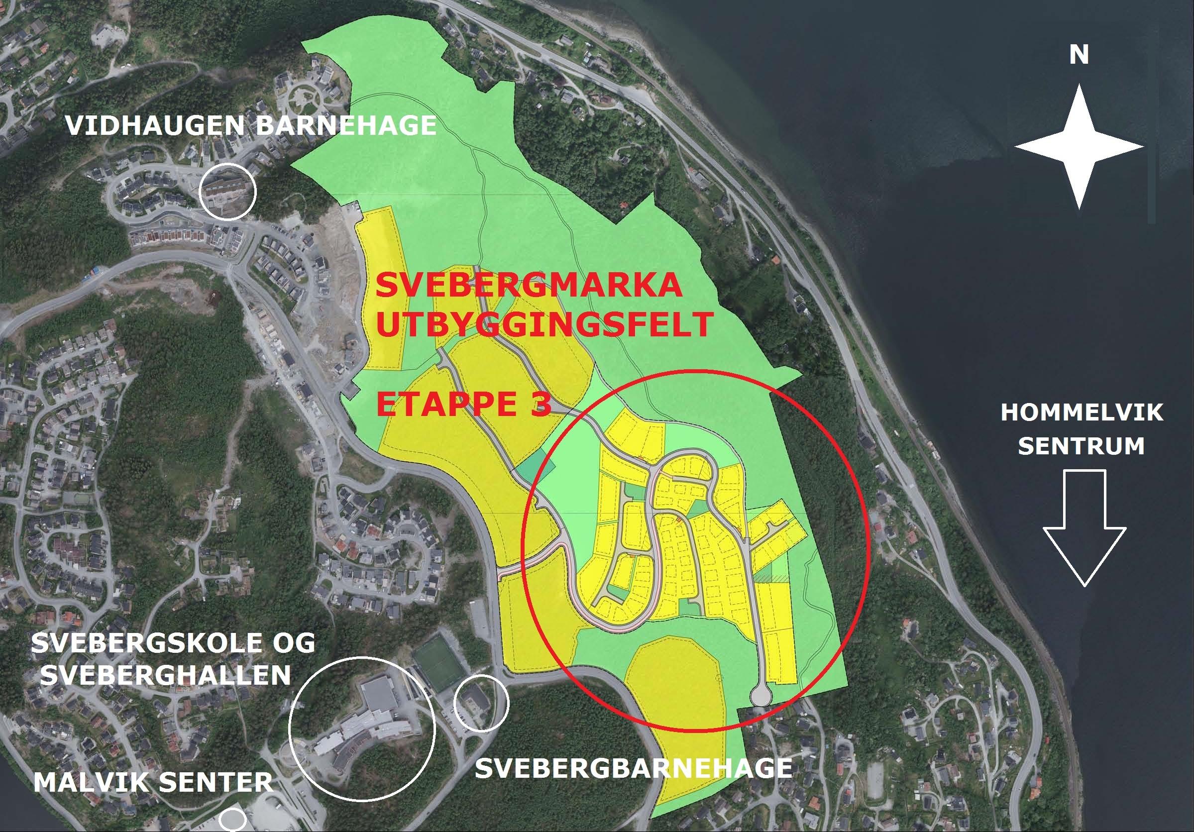 Oversiktsbilde over Svebergmarka utbyggingsfelt