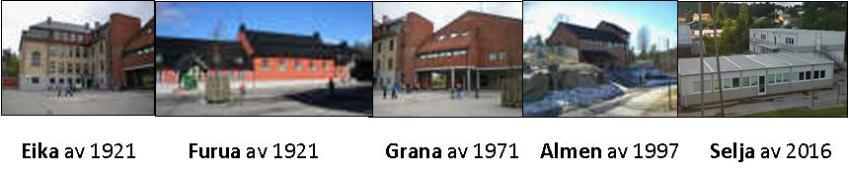 Bilde av skolebygningene
