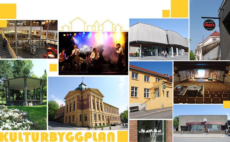 Bildecollage av ulike kulturbygg i regionen
