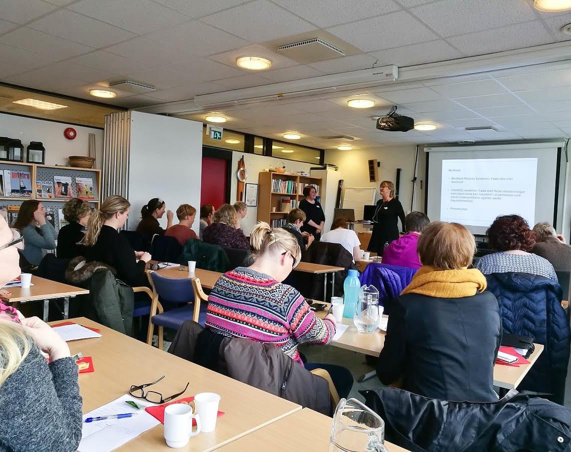 Tre-fire råder med kurdeltakere sitter sammen i et seminarrom. Fremst ved en fremvisningstavle står det to kvinnelige forelesere.