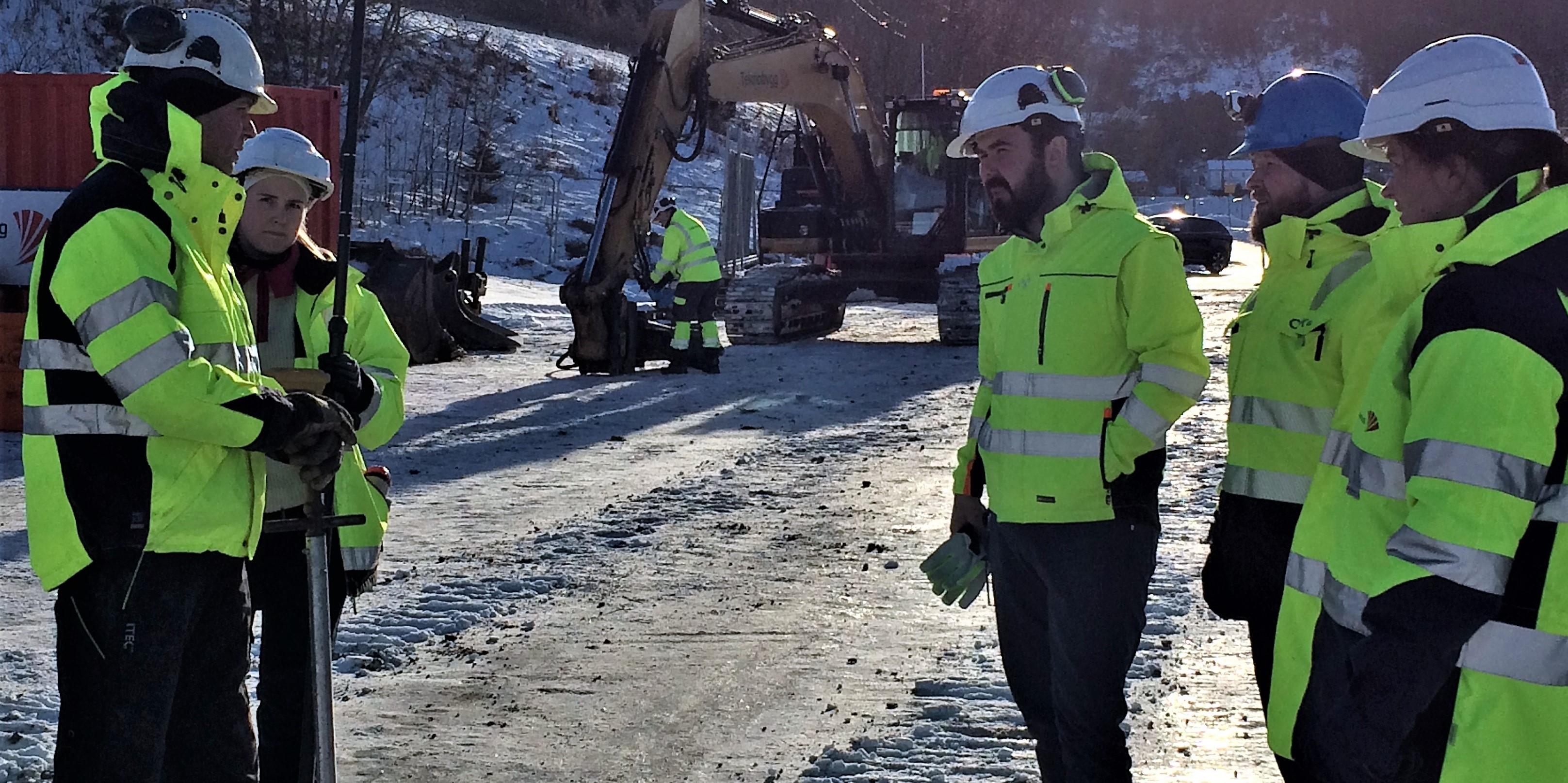 Bilde av byggeledelsen for renseanlegget ved Nygården på området.