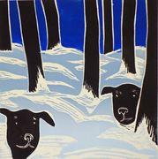 Hunder ute i skog