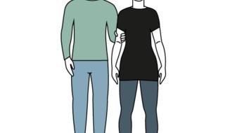 Tegnet illustrasjon. En mannskikkelse til venstre blir ledsaget av en kvinneskikkelse.