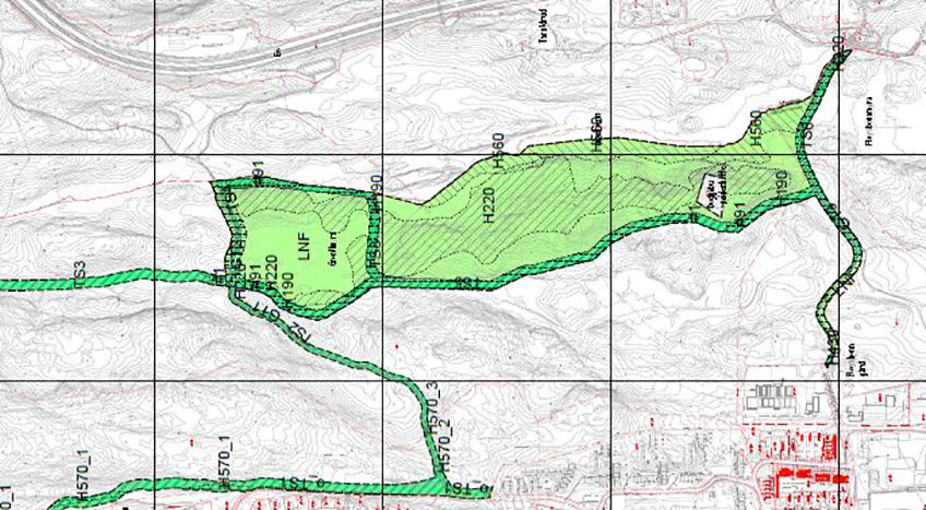 Utsnitt av reguleringsplan - lysløyper i Oppegård nord
