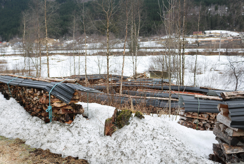 Flere rekker med oppsamlet ved i et snødekt landskap. Alle vedrekkene er beskyttet med sorte takplater.