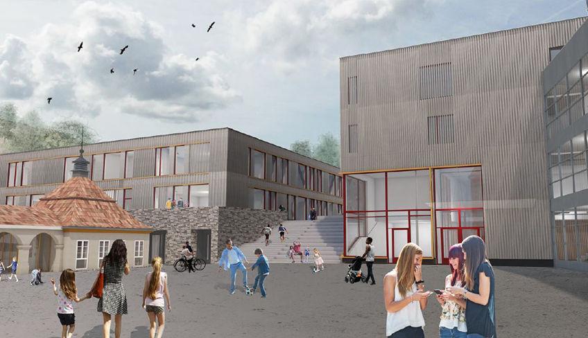 Slik kan Kolbotn skole bli. Her utenfor biblioteket. Illustrasjon: Romfarer Arkitekter