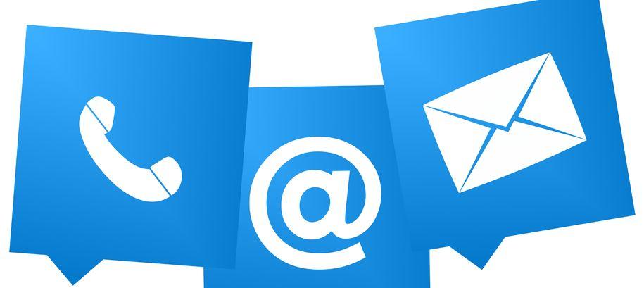 Illustrasjonsbilde av e-post, telefon og brev