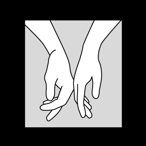 Tegning av to hender som berører hverandre håndbak mot håndbak