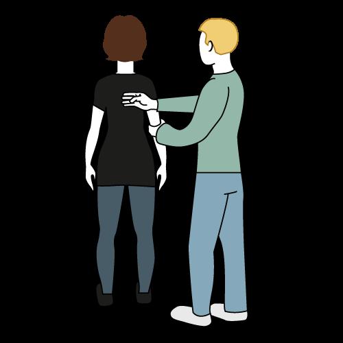 Ledsager står med ryggen mot. bruker har høyre hånd på ryggen til ledsager og andre hånd i høyre albue til ledsager.