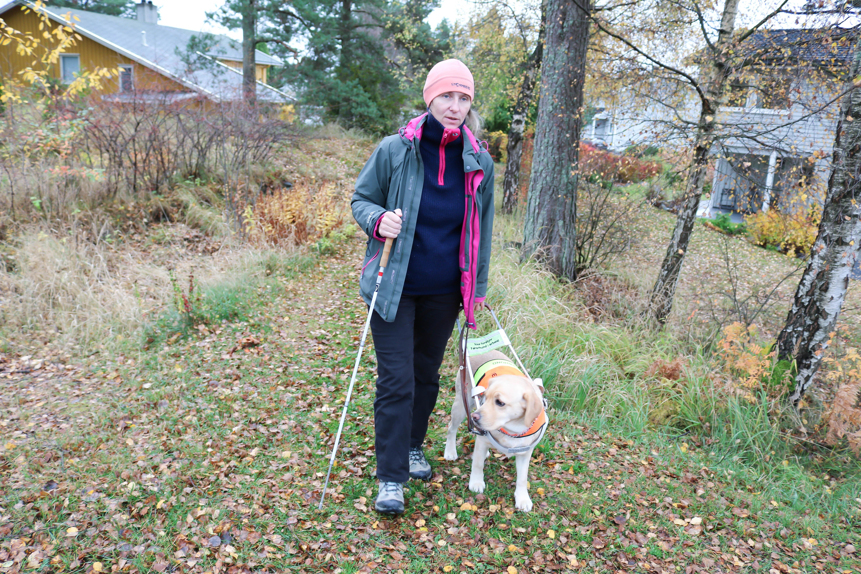Høst i skogshage. Kvinne er ute og går med sin førerhund, i høyre hånd holder hun blindestokk. To hus kan skimtes i bakgrunnen.