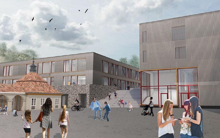 Kolborn skole skal utvides til 4-paralell skole med flerbrukshall. Illustrasjon: Romfarer arkitekter
