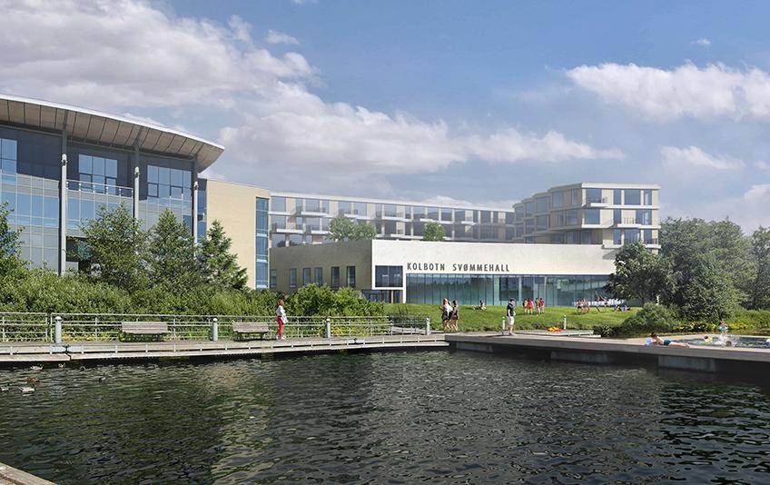 Svømmehall Kolbotn Perspektiv utvendig nett