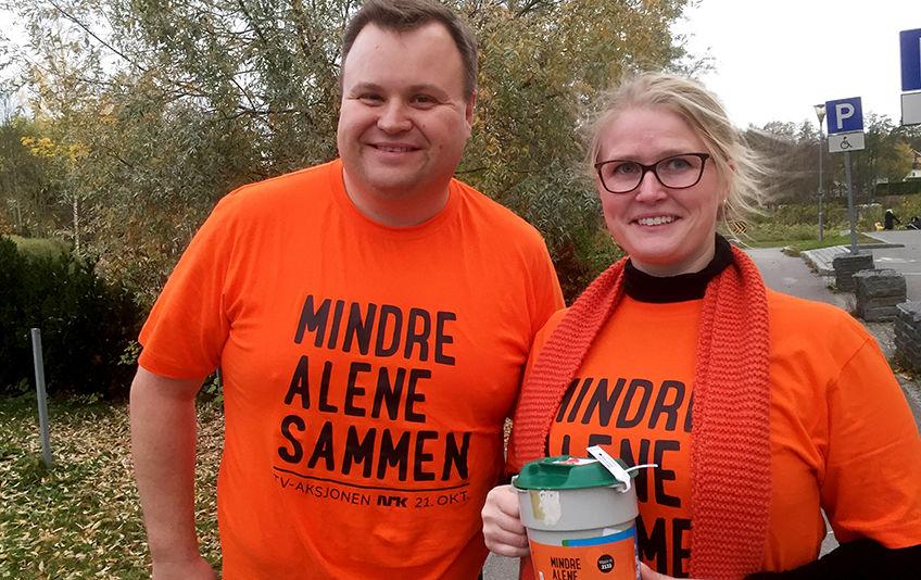 Ordfører Thomas Sjøvold og leder av Frivilligsentralen Ida Madeleen Moe er begge svært fornøyd med dugnadsinnsatsen, som er gjennomført for årets TV-aksjon.