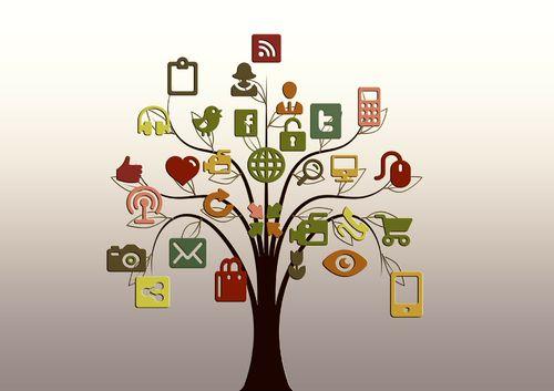 Stilisert tre, der bladene er ikoner knyttet til bruk av pc, internett og sosiale medier.