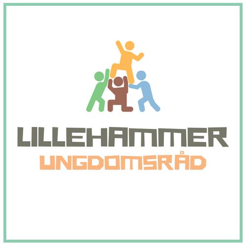 """Synstolking: Tre strekfigurer som løfter en fjerde figur, og teksten """"Lillehammer ungdomsråd"""