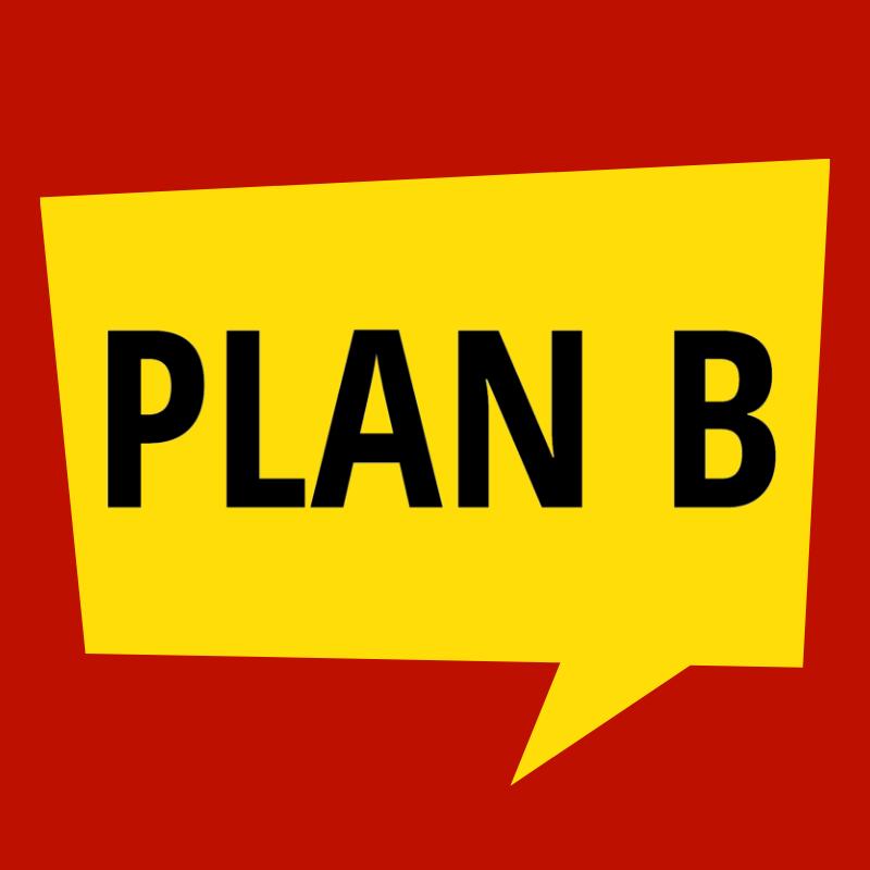 Synstolking: Logo med teksten Plan B i en snakkeboble.