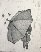 Girl with umbrella in front (etsning)