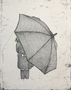 Girl with umbrellabehind (etsning)
