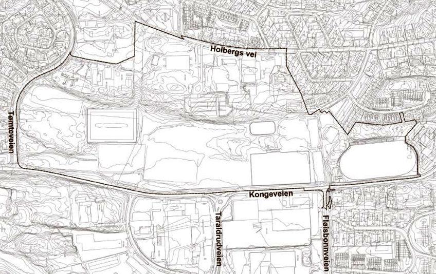 Sofiemyr idrettspark kart over planområdet