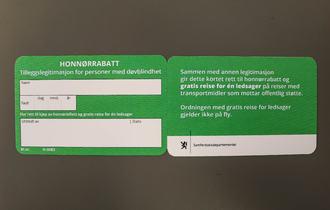 Fram- og bakside av honnørrabatt - grønt kort