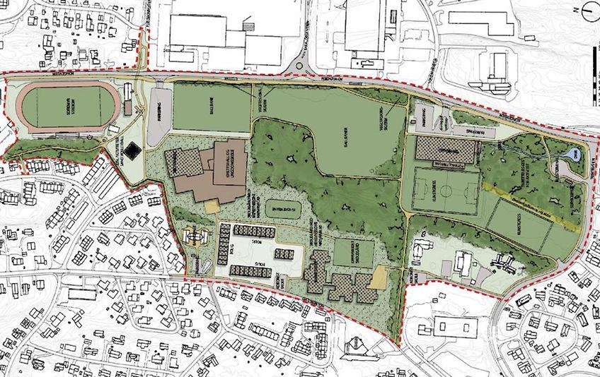 Illustrasjonsplan til forslag for områderegulering for Sofiemyr idrettspark