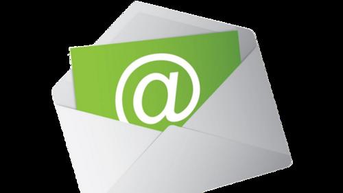 Illustrasjonbilde av en åpen konvolutt med et grønt ark med en stor, hvit krøllalfa.