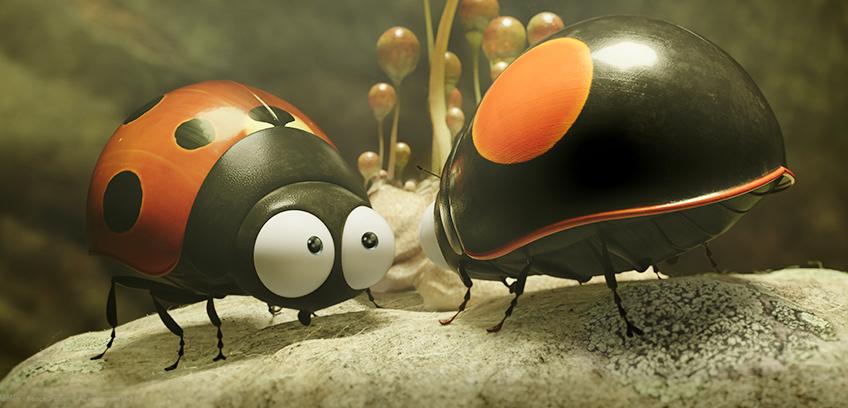 Fra filmen Kule kryp 2, viser to marihøner