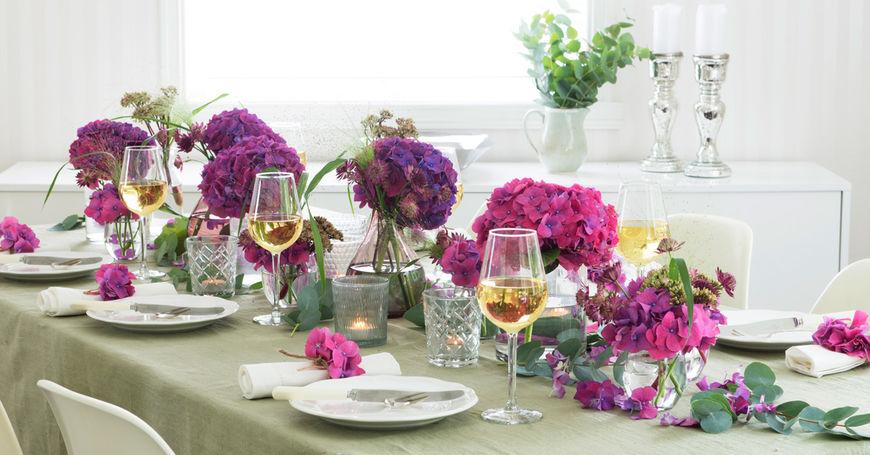 Blomster til borddekorering