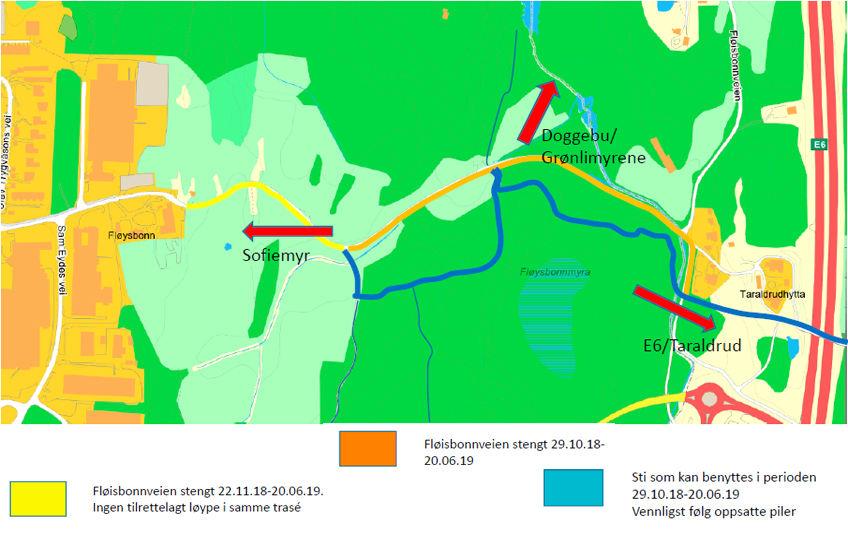 Fløisbonn veien er stengt på grunn av graving av ny vannledning